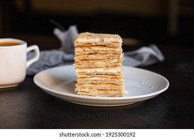 mille feuille cake layers cream napoleon dessert sweet piece top view copy space for text food background rustic image