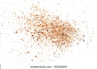 Milled nutmeg, powder isolated on white background, top view