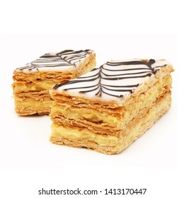 Mille-feuilles (Thousand leaf):  French pastries isolated on white background