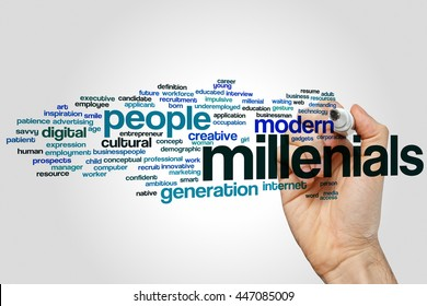Millenials word cloud concept