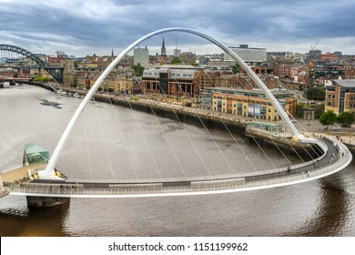 Millenium bridge across the River Tyne between Gateshead and Newcastle in the north east of England