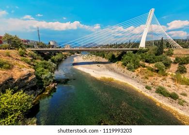 Millenium bridge over river Moraca in Podgorica, Montenegro