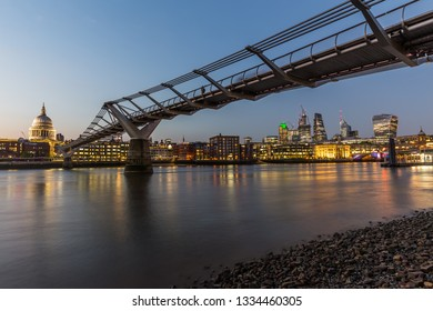 Millenium Bridge and St. Paul's Cathedral in London at night