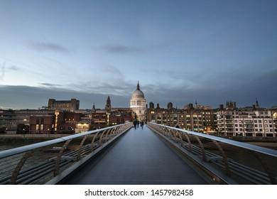 Millenium Bridge, with St. Paul's Cathedral, UK
