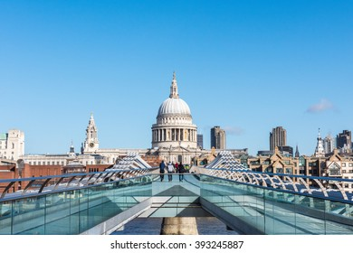 Millenium Bridge, with St. Paul's Cathedral Background.