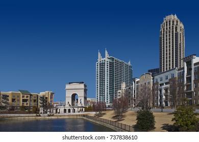 Millenium Gate  in midtown Atlanta on the blue sky background.