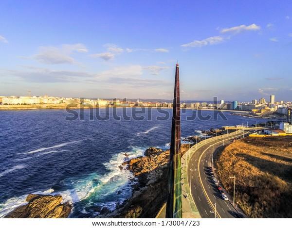 Millenium Obelisk in La Coruna. Aerial View in the beautiful city of Galicia,Spain. Drone Shoot