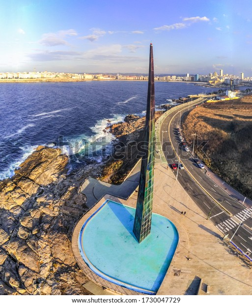 Millenium Obelisk in La Coruna. Aerial View in the beautiful city of Galicia,Spain. Drone Shoot