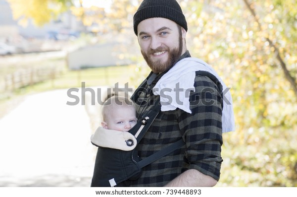 Millennial Dad Baby Carrier Outside Walking Stock Photo Edit Now