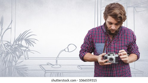 Millennial man with camers against white hand drawn office