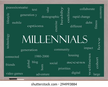 Millennials  Word Cloud Concept on a Blackboard with great terms such as generation, health, fitness, technology and more.