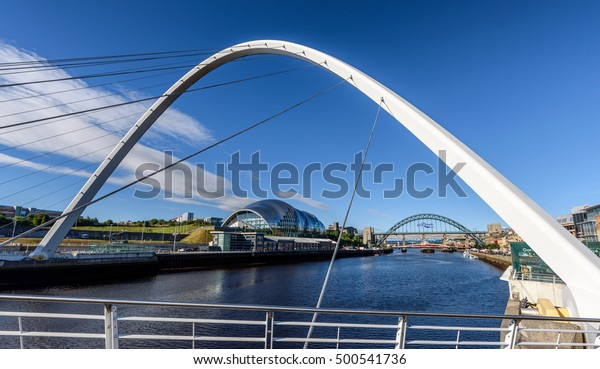 The Millennium bridge over the Tyne River is in Newcastle England.