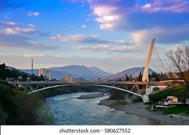 Millennium bridge and river Moraca in the center of Podgorica, Montenegro