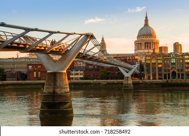Millennium Bridge and St. Paul's Cathedral in London