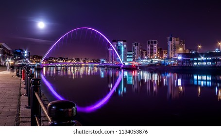 Millennium Bridge under Night Sky and Full Moon, Newcastle upon Tyne, UK