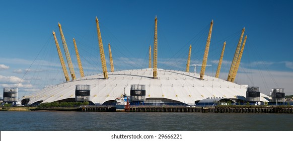 Millennium dome, London. Panoramic of O2 arena, London.