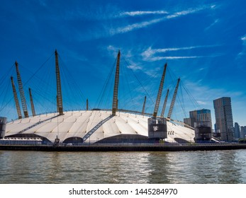 Millennium Dome or O2 Arena; London, July 2019 - seen from River Thames. Editorial use only