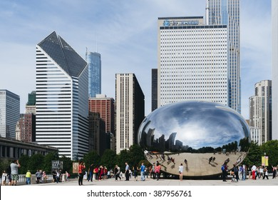 Millennium Park, Chicago, USA - September 24, 2015: Cloud Gate, also known as the Bean is one of the parks major attractions.