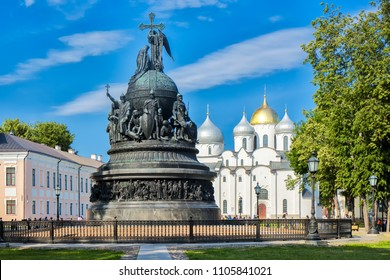 The Millennium of Russia bronze monument (it was erected in 1862) in the Novgorod Kremlin with Saint Sophia Cathedral behind