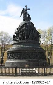 The Millennium of Russia, a bronze monument in the Novgorod Kremlin. (Novgorod Kremlin (Detinets)), Veliky Novgorod, Russia. May 7, 2012