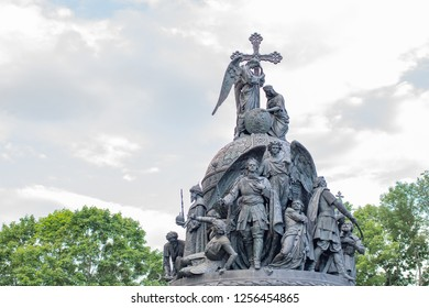 The Millennium of Russia, a bronze monument in the Novgorod Kremlin. Veliky Novgorod, Russia. July 21, 2017 day