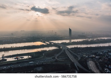 Millennium Tower in Vienna at the Danube during Sunset