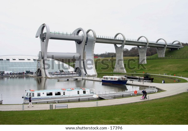 millennium wheel in Falkirk, Scotland. Built as part of a millennium project to riase and lower canal boats between two different levels of the canals.