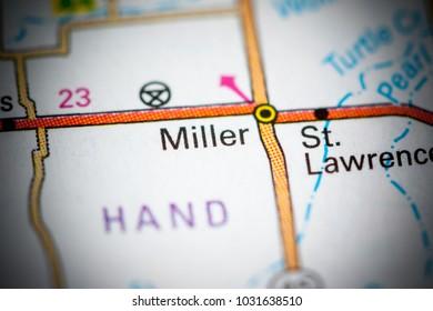 Miller. South Dakota. USA on a map.