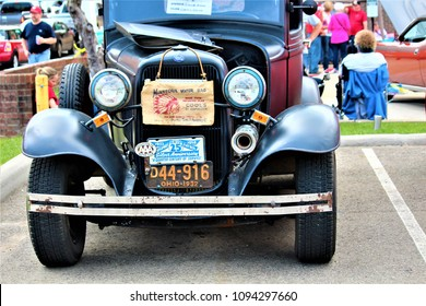 Millersburg, OH / United States - May 19 2018: Millersburg has an annual car show showcasing antique cars like the Model T Ford