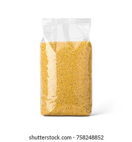 Millet groats in transparent plastic bag isolated on white background. Packaging template mockup collection. With clipping Path included. Stand-up Front view.
