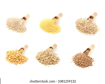 Millet, porridge, oatmeal, buckwheat, wheat, barley grits with a  scoop   isolated on a white background.
