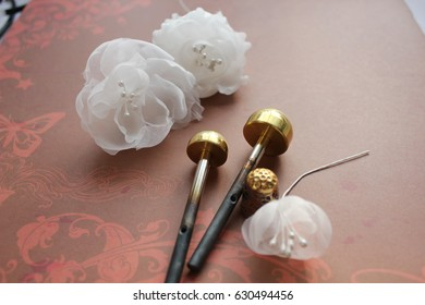Millinery and Hat Making Tools, Silk Flowers and Thimble