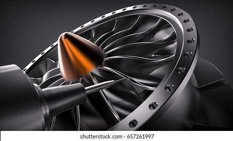 Milling aluminum turbine in five axis CNC machine. 3d illustration.