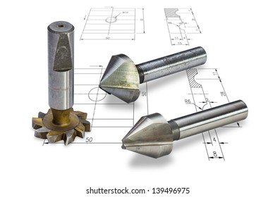 Milling cutters, isolated on drawing background, with clipping path