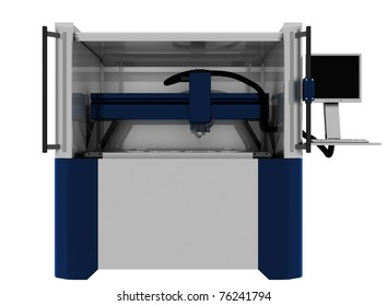 milling machine ,3d render isolated on white