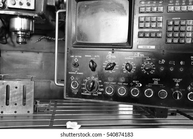 Milling machine. Machine control panel. Black-and-white photo.