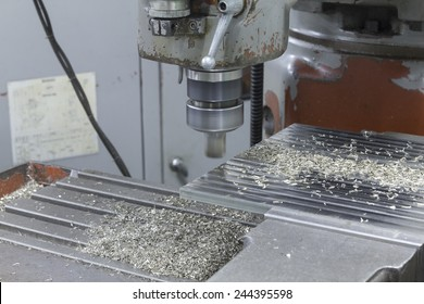 Milling machine face on top stainless steel on bench vise