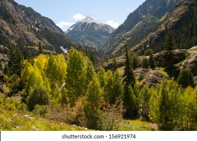 The million dollar highway, between Ouray and Silverton, CO is noted for its outstanding fall colors./Fall aspens/This road is also known as the Swiss Alps of the USA. The valleys are low, mts. high.