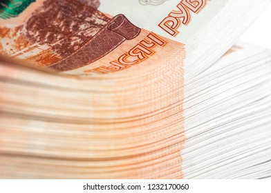 Million Russian rubles. The concept of wealth, profits, business and finance. Stack money in the five thousandth bills banknotes. A lots wads of money, many cash