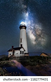 Million star and Amazing Milky Way over Pigeon Point Lighthouse