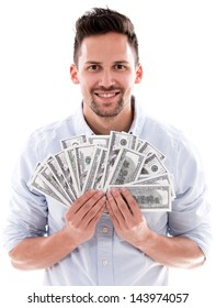 Millionaire woman holding dollar bills - isolated over white