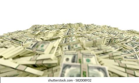 Millions of Dollars - 100 Dollar Banknotes - 3D Rendering