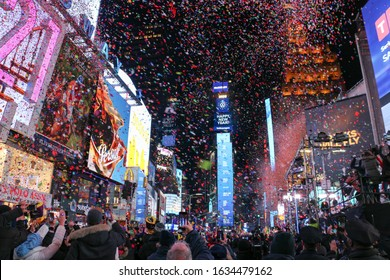 Millions of participants gather at Times Square in New York City to celebrate New Year's Eve on January 1, 2020.