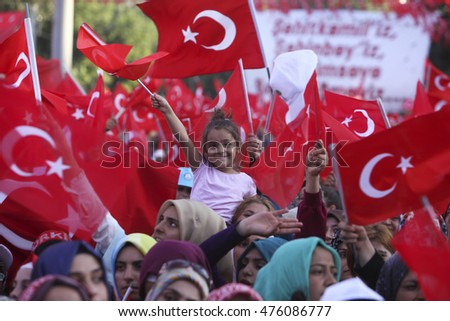 Millions of Turkish flags were seen in Gaziantep meeting,  29 August 2016, Turkey