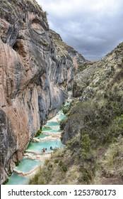 Millpu Lagoons, a series of stunning natural turqoise pools, near the city of Ayacucho, Peru