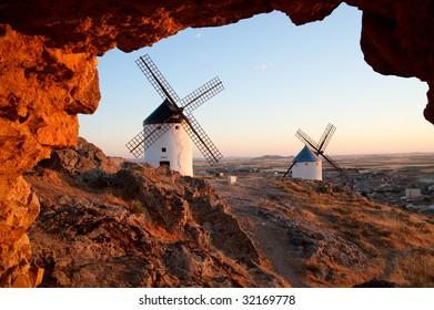 Mills at Consuegra, La Mancha