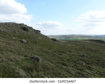 Millstone grit formations at Bridestone rocks on Calderdale moor near Todmorden, west Yorshire, England.