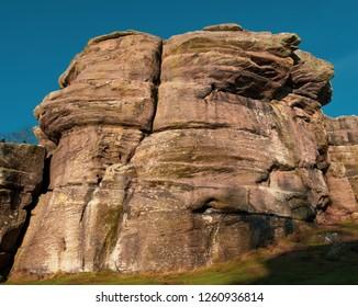Millstone Grit Sandstone Rock Formation. Carboniferpous Rock, Rock Beds. Geology