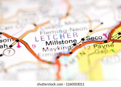 Millstone. Kentucky. USA on a geography map