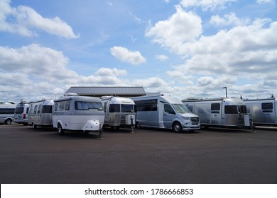 MILLSTONE, NJ -16 JUL 2020- View of aluminum Airstream RV trailers sold on the lot of the Colonial motorhomes dealership in Millstone Township, New Jersey, USA.